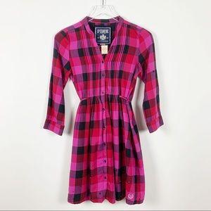 PINK | Button Down Plaid Night Shirt